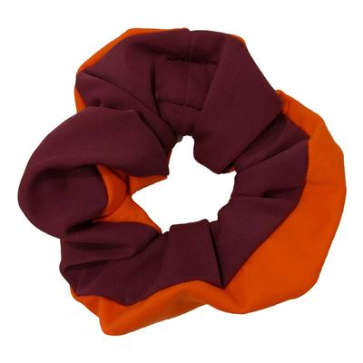 Maroon & Orange Pomchies Scrunchie