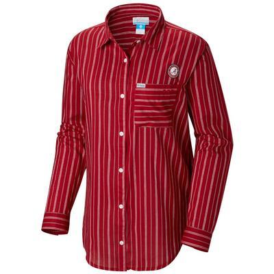Alabama Columbia Women's Sun Drifter III L/S Shirt RED_VELVET