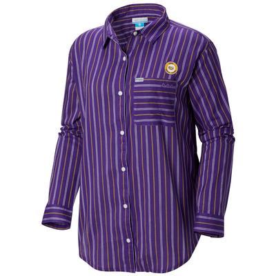 LSU Columbia Women's Sun Drifter III L/S Shirt VIVID_PURPLE