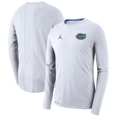Florida Jordan Brand Alpha Dry Coaches L/S Top WHITE
