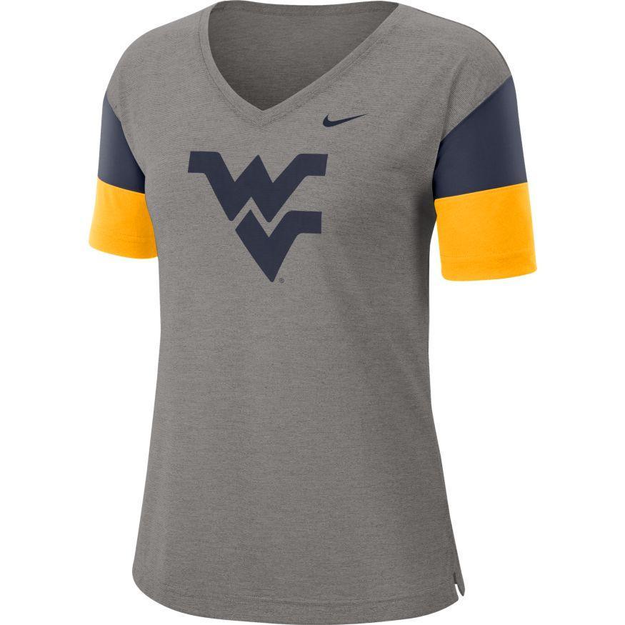 West Virginia Nike Women's Dri- Fit Breathe V- Neck Top