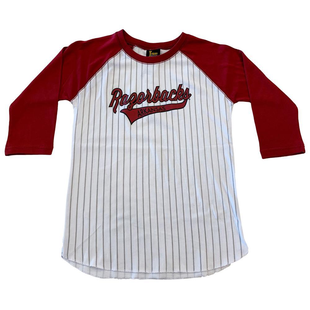 Arkansas Youth 3/4 Sleeve Striped Baseball Tee