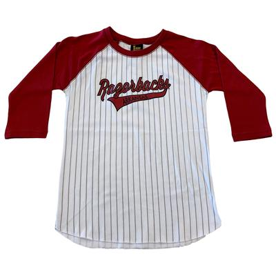 Arkansas Youth 3/4 Sleeve Striped Baseball Tee