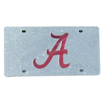 Alabama Silver Glitter License Plate