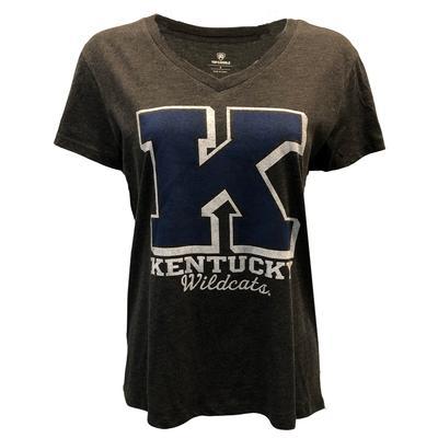 Kentucky Women's Heritage V-Neck Triblend Boyfriend Tee BLACK_HTHR