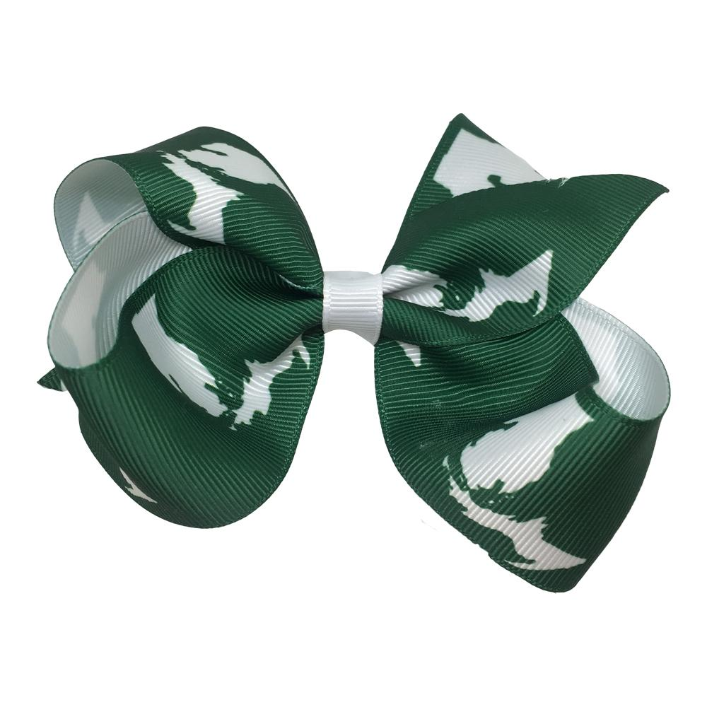 Green And White State Of Michigan Kids Hair Bow