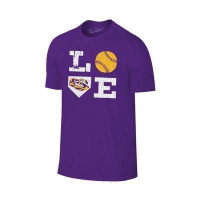 LSU Softball LOVE Short Sleeve Tee