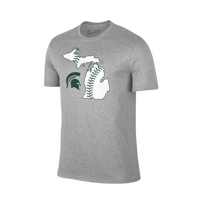 Michigan State Baseball Laces Tee GREY