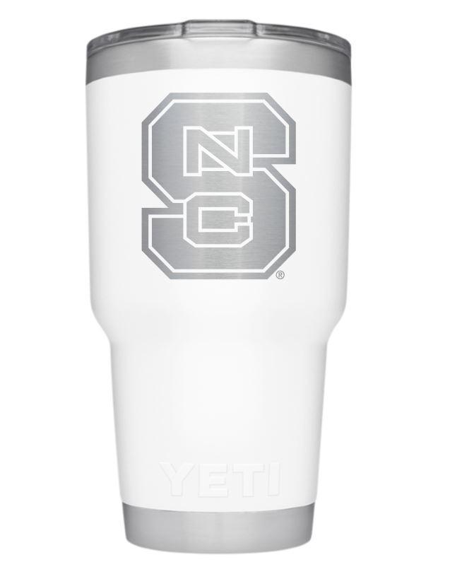 Nc State Yeti 30oz White Powder Coated Rambler