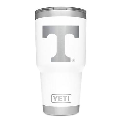 Tennessee Yeti 30oz White Powder Coated Rambler