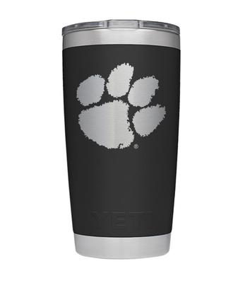 Clemson Yeti 20oz Black Powder Coated Rambler