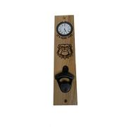 Georgia Bulldog Logo Timeless Etchings Hickory Bottle Opener/Clock