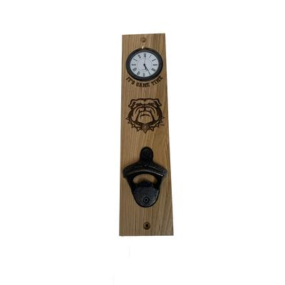 Georgia Bulldog logo Timeless Etchings Hickory Bottle Opener/Clock