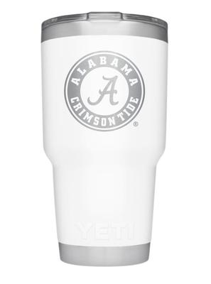 Alabama Yeti 30oz White Powder Coated Rambler