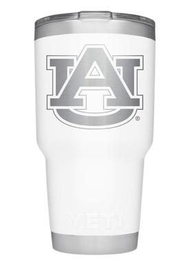 Auburn Yeti 30oz White Powder Coated Rambler