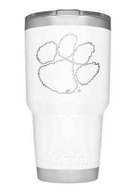 Clemson Yeti 30oz White Powder Coated Rambler