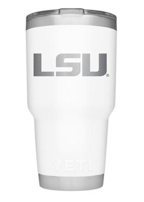 LSU Yeti 30oz White Powder Coated Rambler