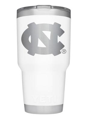 UNC Yeti 30oz White Powder Coated Rambler