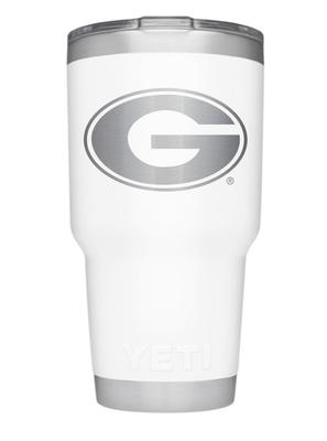 Georgia Yeti 30oz White Powder Coated Rambler