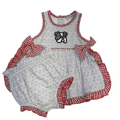 Light Grey And Red Infant Bloomer Set