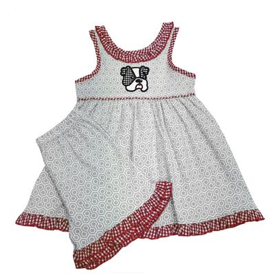 Light Grey And Red Toddler Frilly Dress And Short Set