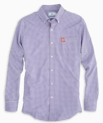 Clemson Southern Tide Gingham Intercoastal Vault Logo Woven Shirt REGAL_PURPLE