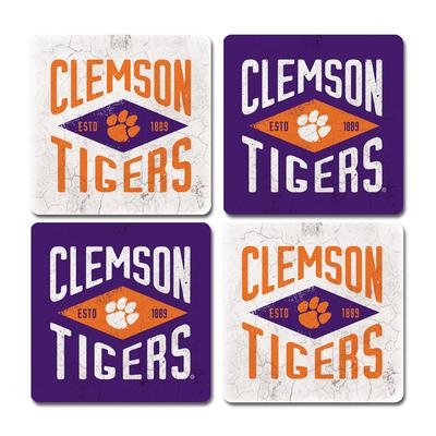 Clemson Legacy Diamond Coaster Set - 4 Pack