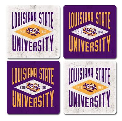 LSU Legacy Diamond Coaster Set - 4 Pack