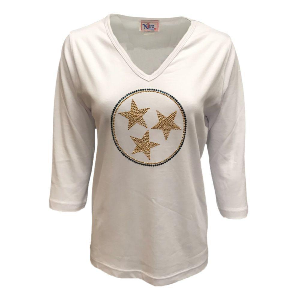 Etsu Nitro Navy And Gold Tristar 3/4 Sleeved V- Neck Shirt