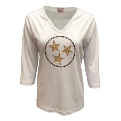 ETSU Nitro Navy and Gold Tristar 3/4 Sleeved V-Neck Shirt