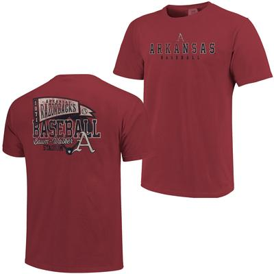 Arkansas Baseball Throwback Pennant Comfort Colors Tee