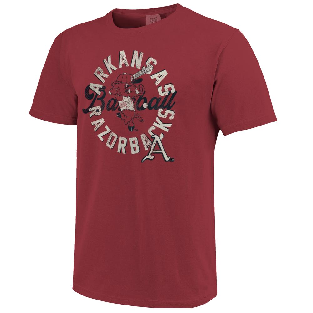 Arkansas Baseball Ribby Comfort Colors Circle Tee