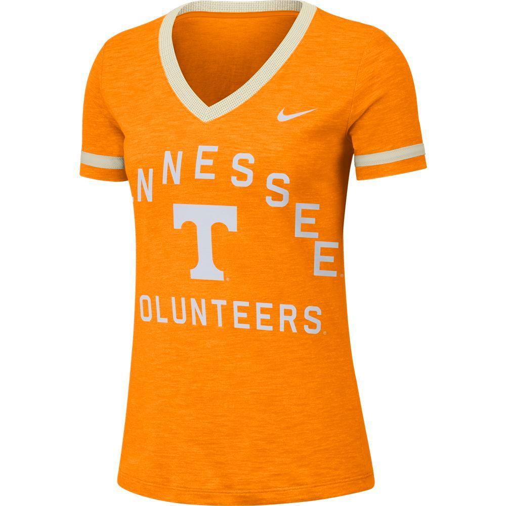 Tennessee Nike Women's Dri- Fit Slub V- Neck Fan Top