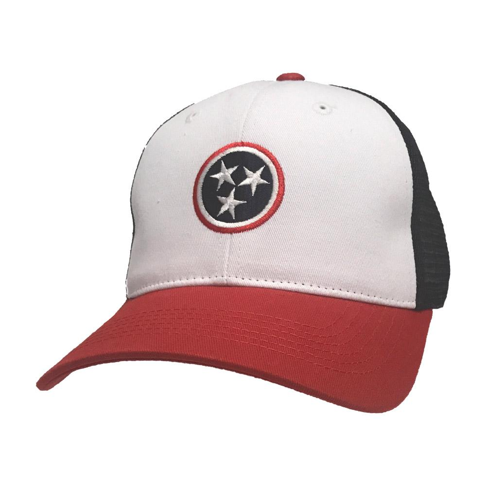 Volunteer Traditions Tri Star Red White And Blue Trucker Cap
