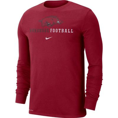 Arkansas Nike Dri-FIT Cotton Icon Long Sleeve Football Tee