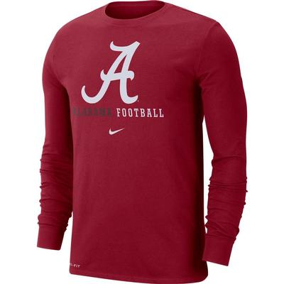Alabama Nike Dri-FIT Cotton Icon Long Sleeve Football Tee