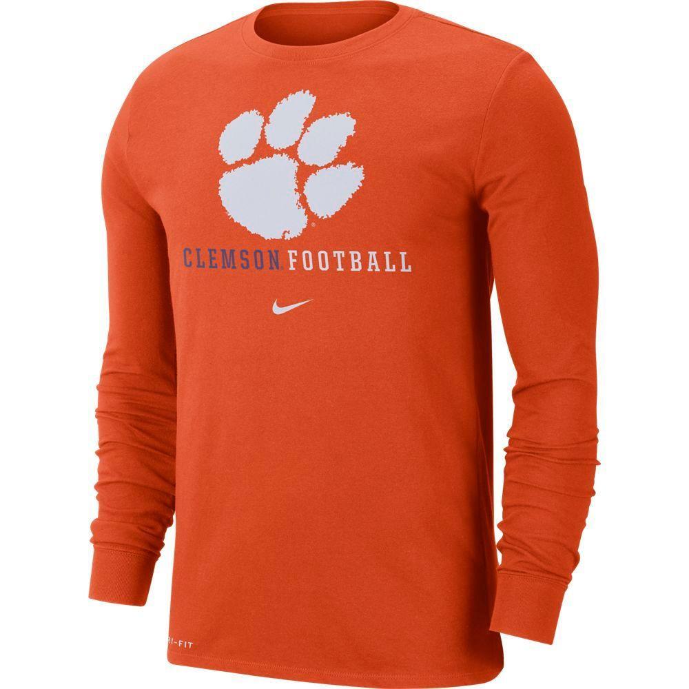 Clemson Nike Dri- Fit Cotton Icon Long Sleeve Football Tee