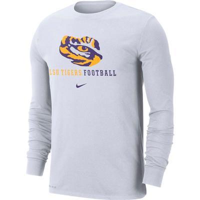 LSU Nike Dri-FIT Cotton Icon Long Sleeve Football Tee
