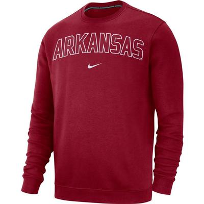 Arkansas Nike Fleece Club Crew Sweater