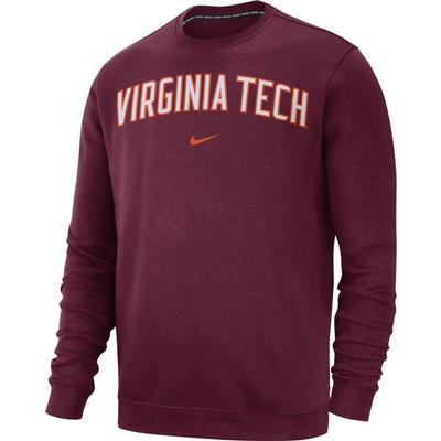 Virginia Tech Nike Fleece Club Crew Sweater