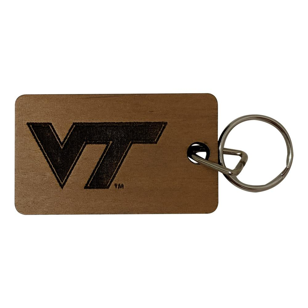 Virginia Tech Timeless Etchings Wood Keychain
