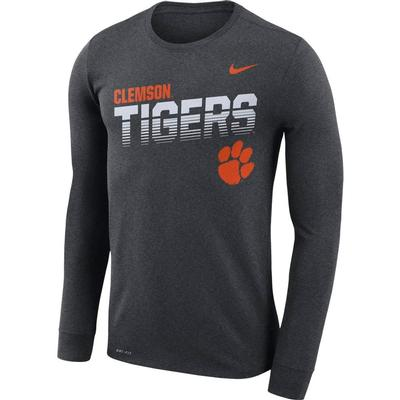 Clemson Nike Legend Long Sleeve Sideline Tee