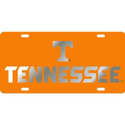 Tennessee License Plate Orange With Silver TN Font