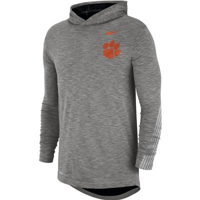 Clemson Nike Dri-FIT Cotton Long Sleeve Sideline Hoodie Tee