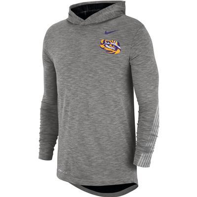 LSU Nike Dri-FIT Cotton Long Sleeve Sideline Hoodie Tee