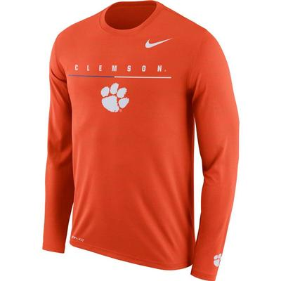 Clemson Nike Dri-FIT Velocity Legend Long Sleeve Travel Tee