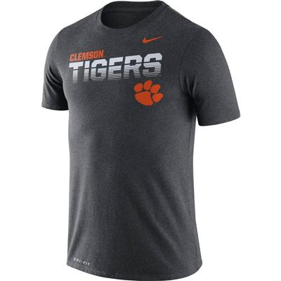 Clemson Nike Legend Sideline Short Sleeve Shirt CHARCOAL_HTHR