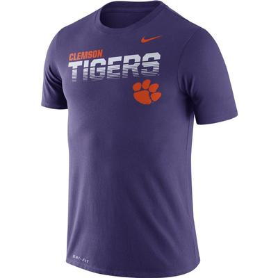 Clemson Nike Legend Sideline Short Sleeve Shirt PURPLE