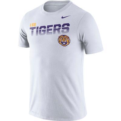LSU Nike Legend Sideline Short Sleeve Shirt WHITE