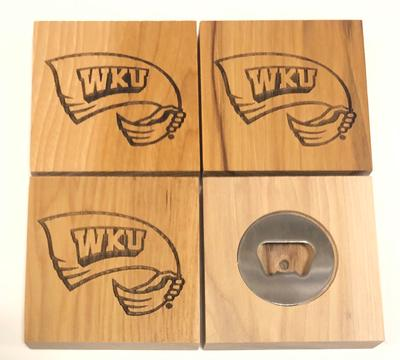 Western Kentucky Timeless Etchings Coaster Set/Bottle Opener